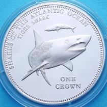 Тристан-да-Кунья 1 крона 2015 год. Тигровая акула. Серебрение