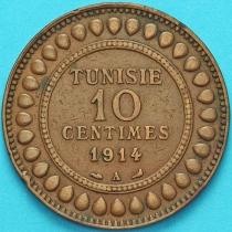 Тунис 10 сантим 1914 год.