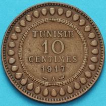 Тунис 10 сантим 1917 год.