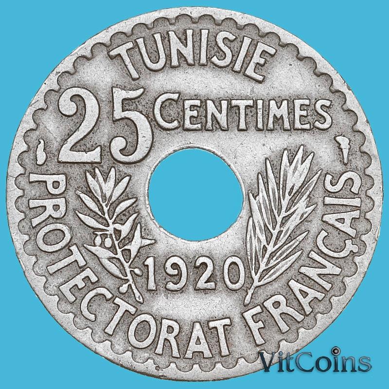 Монета Туниса 25 сантим 1920 год.