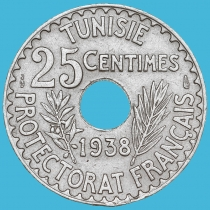 Тунис 25 сантим 1938 год.