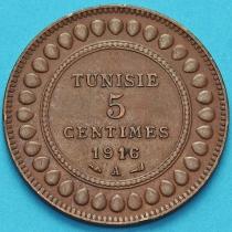 Тунис 5 сантим 1916 год.