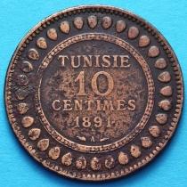 Тунис 10 сантим 1891 год.