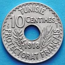 Тунис 10 сантим 1918 год.