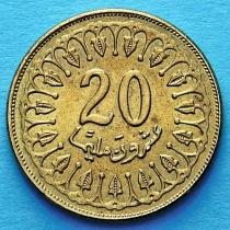 Тунис 20 миллимов 2005 год.