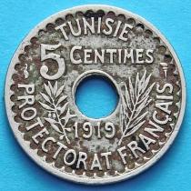 Тунис 5 сантим 1919 год.