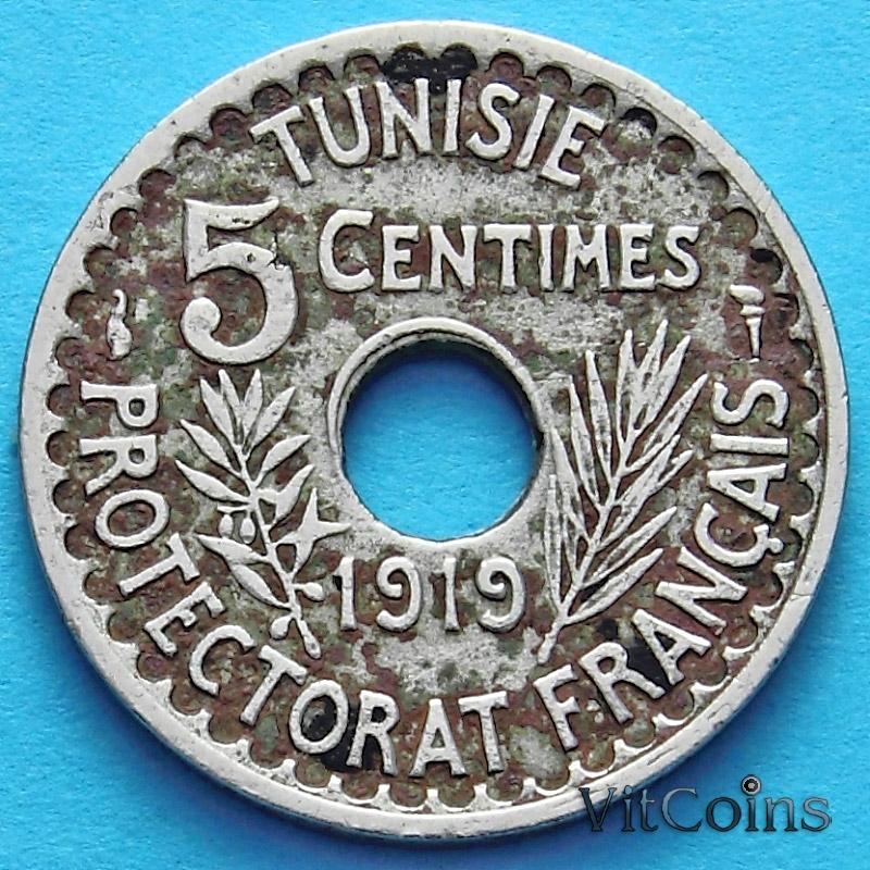 Монета Туниса 5 сантим 1919 год.