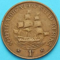 """Южная Африка 1 пенни 1937 год. Корабль """"Дромедарис""""."""