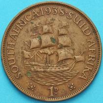 """Южная Африка 1 пенни 1938 год. Корабль """"Дромедарис""""."""