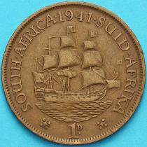 """Южная Африка 1 пенни 1941 год. Корабль """"Дромедарис""""."""