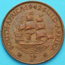 """Южная Африка 1 пенни 1942 год. Корабль """"Дромедарис""""."""