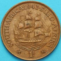 """Южная Африка 1 пенни 1943 год. Корабль """"Дромедарис""""."""