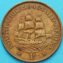 """Южная Африка 1 пенни 1946 год. Корабль """"Дромедарис""""."""