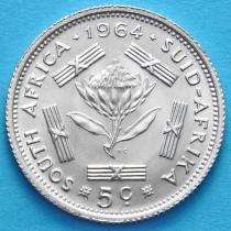 ЮАР 5 центов 1964 год. Серебро.