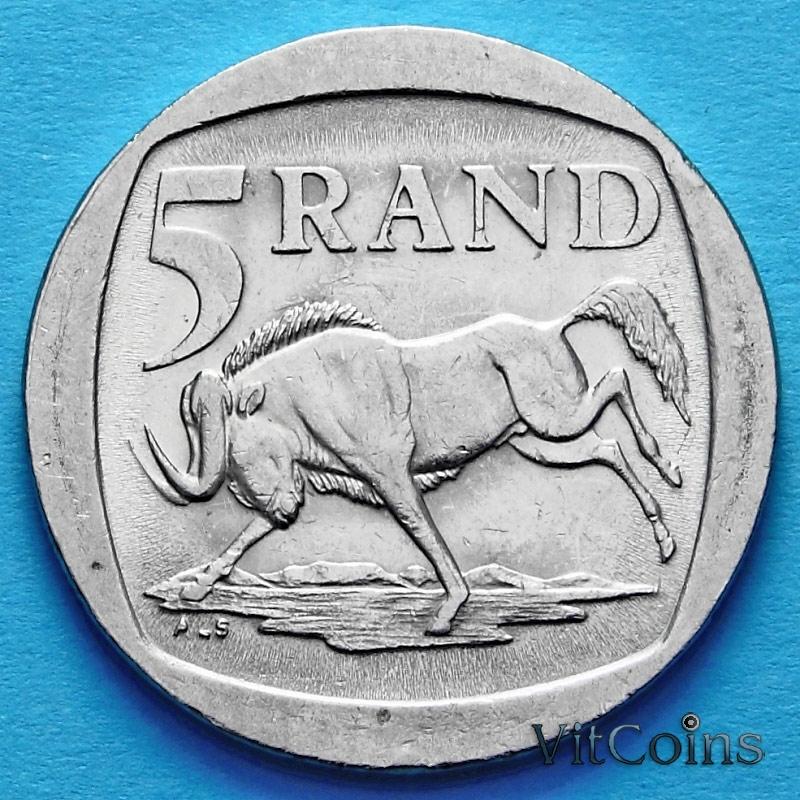 Монета ЮАР 5 рандов 1995 год. Антилопа гну.