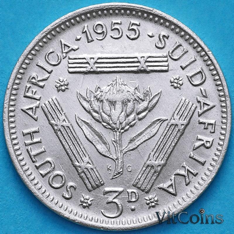 Монета ЮАР 3 пенса 1955 год. Серебро.
