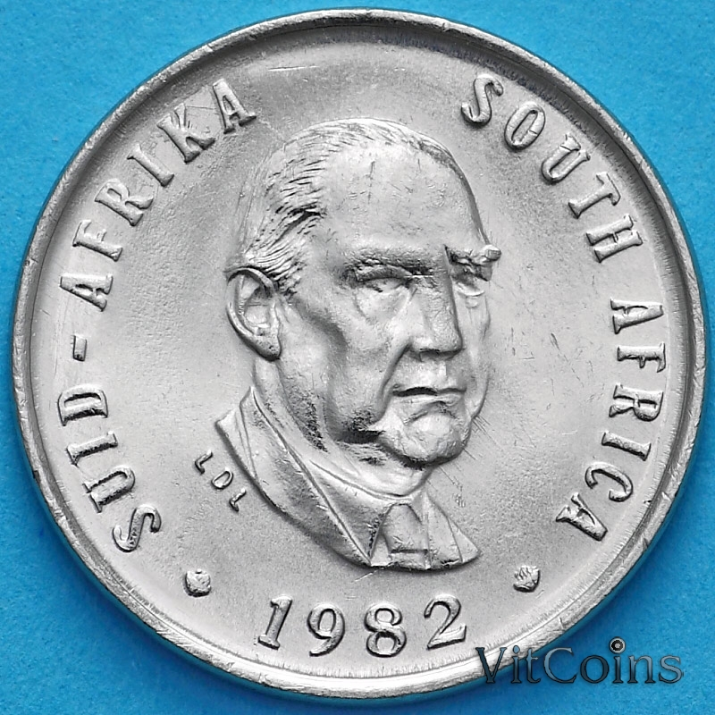 Монета ЮАР 5 центов 1982 год. Бальтазар Йоханнес Форстер.
