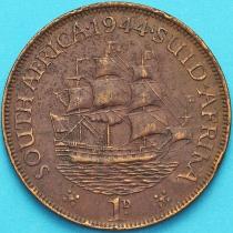 """Южная Африка 1 пенни 1944 год. Корабль """"Дромедарис""""."""