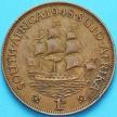 """Монета Южная Африка 1 пенни 1948 год. Корабль """"Дромедарис""""."""