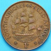 """Южная Африка 1 пенни 1948 год. Корабль """"Дромедарис""""."""