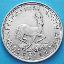Южная Африка 5 шиллингов 1951 год. Серебро.