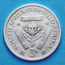 ЮАР 3 пенса 1934 год. Серебро.