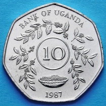 Лот 20 монет. Уганда 10 шиллингов 1987 год.