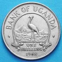 Уганда 1 шиллинг 1968 год. Восточный венценосный журавль.