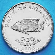 Уганда 200 шиллингов 2008 год. Цихлида.