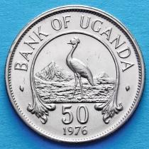 Уганда 50 центов 1976 год. Восточный венценосный журавль.
