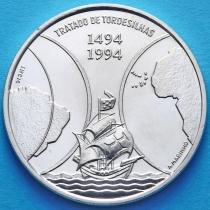 Кабо Верде 1000 эскудо 1994 год. Тордесильясский договор. Серебро.