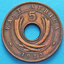 Британская Восточная Африка 5 центов 1922 год.
