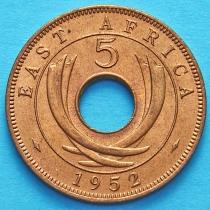 Британская Восточная Африка 5 центов 1952 год.