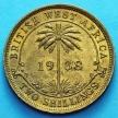 Монета Британской Западной Африки 2 шиллинга 1938 год.