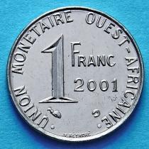 Западная Африка 1 франк 2001 год.