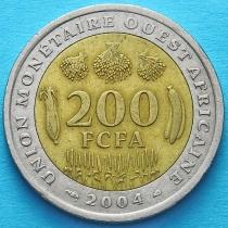 Западная Африка 200 франков 2004 год.