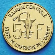 Западная Африка 5 франков 2012 год.