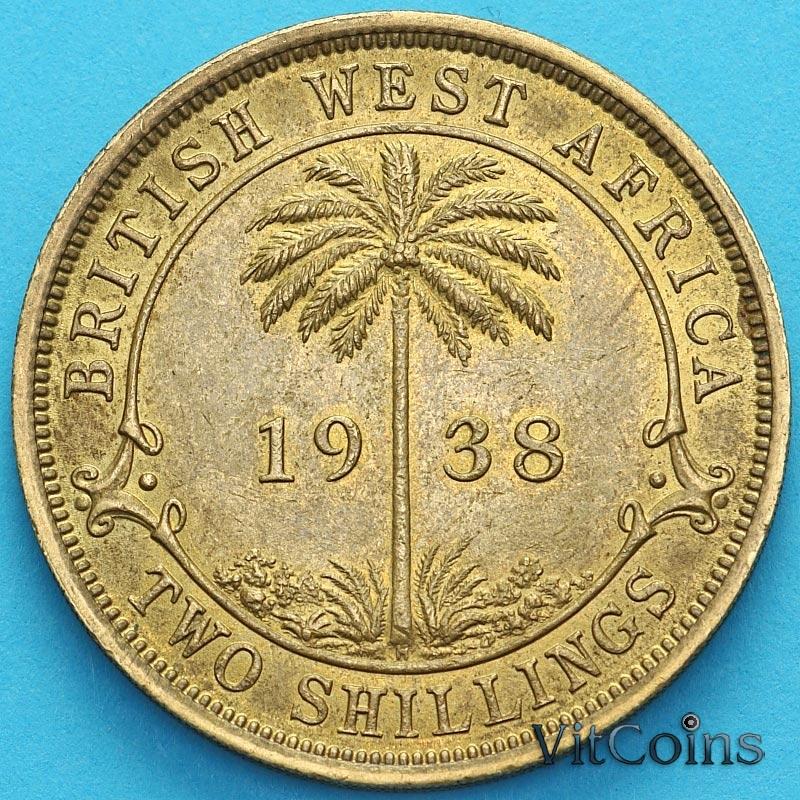 Монета Британская Западная Африкка 2 шиллинга 1938 год. Н
