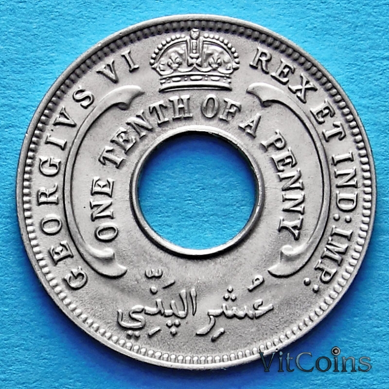 Монета Британская Западная Африка 1/10 пенни 1946 год.