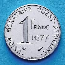 Западная Африка 1 франк 1977 год.