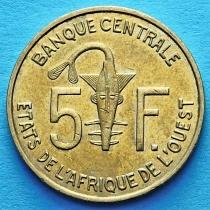Западная Африка 5 франков 1967-2012 год.