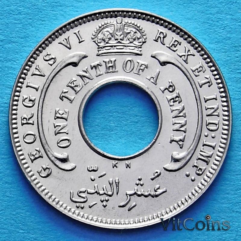 Монета Британской Западной Африки 1/10 пенни 1946 год. KH.