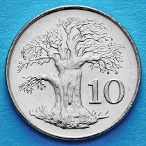 Зимбабве 10 центов 2001 год. Баобаб.