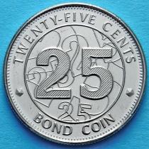 Зимбабве 25 центов 2014 год.