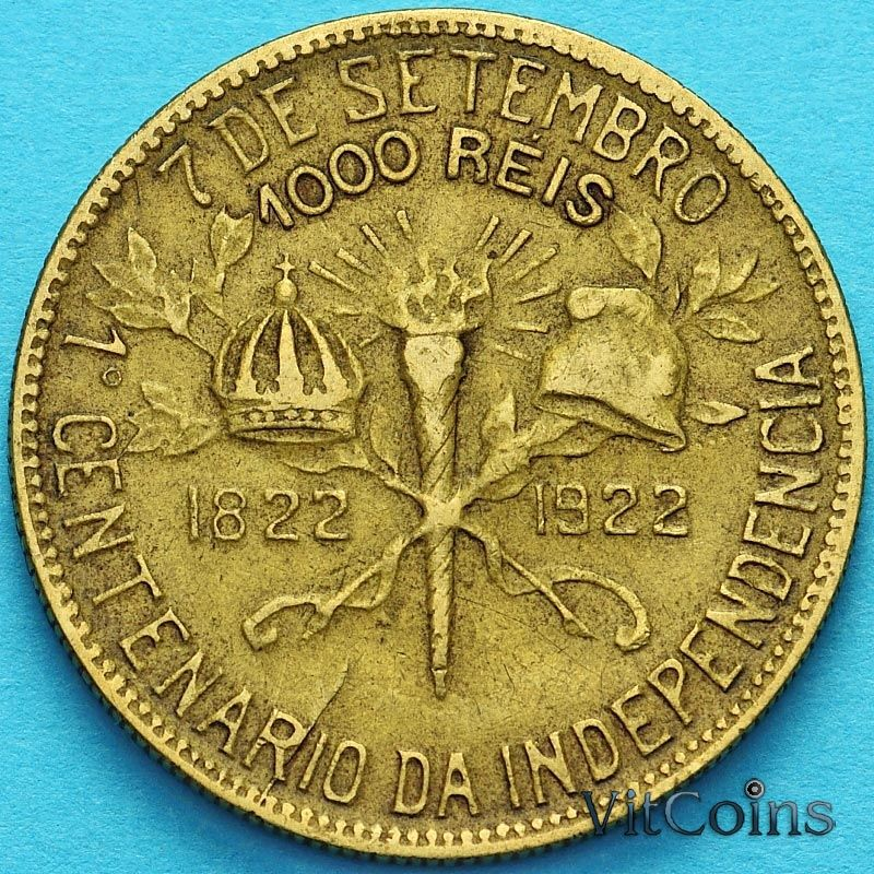 Монета Бразилии 1000 рейс 1922 год. 100 лет независимости.