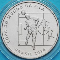 Бразилия 2 реала 2014 год. Удар головой.