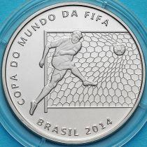 Бразилия 2 реала 2014 год. Удар по воротам.
