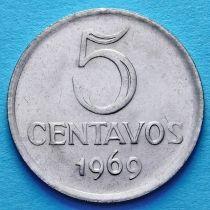 Бразилия 5 сентаво 1969 год.