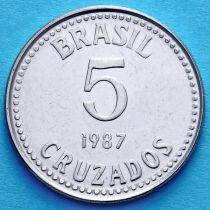 Бразилия 5 крузадо 1986-1988 год.