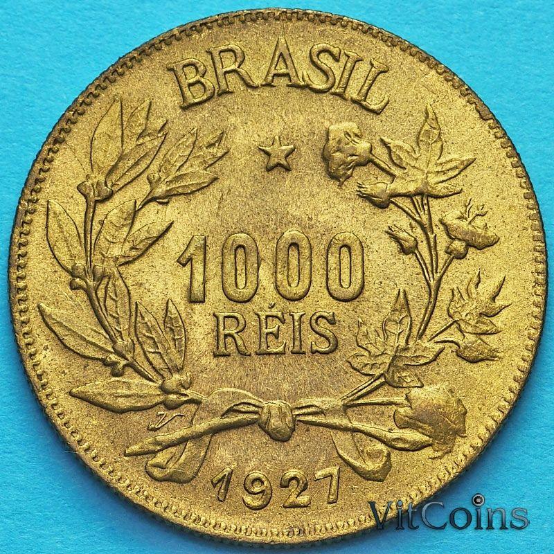 Монета Бразилии 1000 рейс 1927 год. Без обращения.